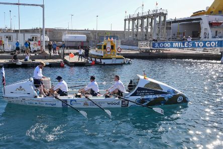 Four British submariners began their 3000-mile row across the Atlantic