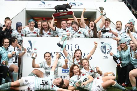 The Cambridge University team celebrate yesterday's victory over their Oxford rivals at Twickenham. Picture: Getty.
