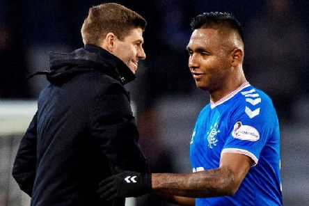 Steven Gerrard (left) hailed Alfredo Morelos after he fired Rangers to the Europa League last 32