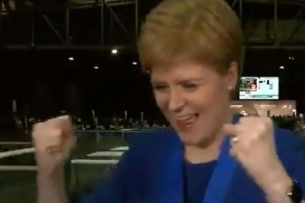 The celebrations from the First Minister were broadcast by Sky News while she was conducting interviews at the Glasgow count.