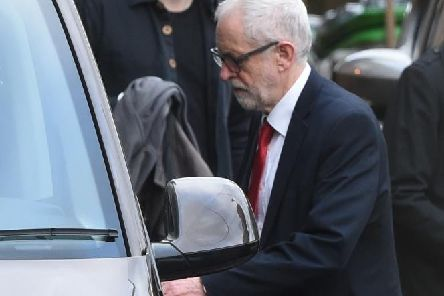 Jeremy Corbyn leaves Islington Town Hall after giving an interview following Labour's election defeat