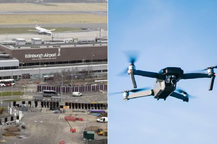 A report to the UK Airprox Boardsaid the black drone with four rotors came within a distance of between 50 metres and 100 metres of the Airbus A319. Pictures: JPI Media/ Jose Luis Carrascosa-Shutterstock