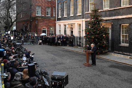 Prime Minister Boris Johnson delivers a speech outside 10 Downing Street in central London on December 13, 2019, following his Conservative party's general election victory. Picture: DANIEL LEAL-OLIVAS/AFP via Getty Images