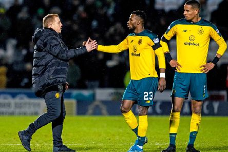 Neil Lennon congratulates Boli Bolingoli and Christopher Jullien after Celtic's 2-1 win over St Mirren. Picture: SNS