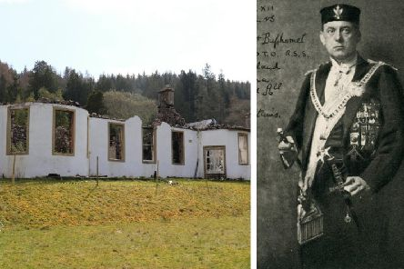 Boleskine House near Loch Ness was once home to occultist Aleister Crowley (left) and was destroyed by fire last summer, with charred remains from the blaze now being sold to help pay for its restoration. PIC: Creative Commons/Contributed.