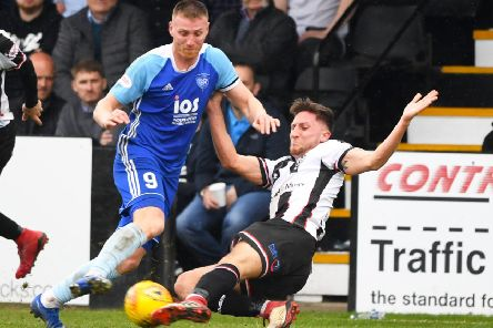 Rory McAllister, left, in action for Peterhead. Picture: SNS
