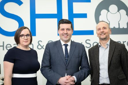 Victoria Carmichael of Scottish Enterprise, MSP Jamie Hepburn and SHE Software chief executive Matthew Elson. Picture: Scottish Enterprise