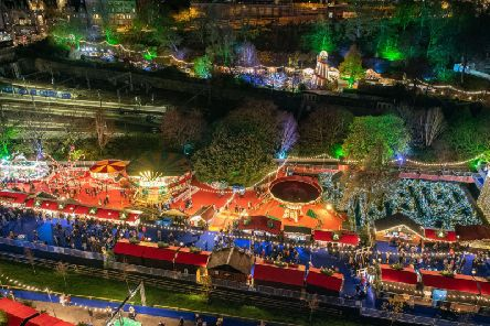 A record 163 stalls were erected in East Princes Street Gardens for an expansion of the city's Christmas market.