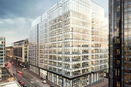 An artist's impression of the under-construction 177 Bothwell Street in Glasgow, where 48,700 sq ft of office space was taken by Virgin Money last year. Picture: Contributed