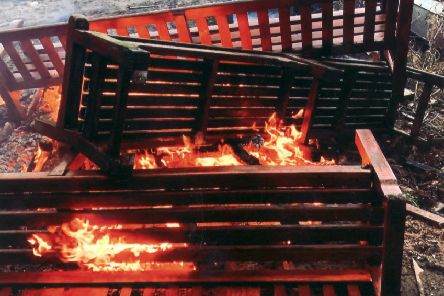 Damaged benches that were removed from West Princes Street Gardens in Edinburgh and burnt on a council depot bonfire. Picture: contributed
