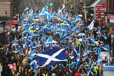 Organisers claimed 80,000 people joined a pro-independence march through Glasgow on January 11. Picture: John Devlin