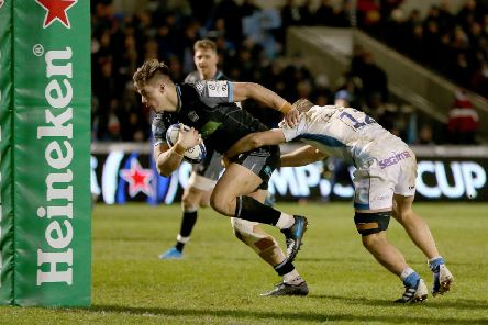 Glasgow centre Huw Jones goes over the Sale line but the try was disallowed for an earlier offside decision against Jonny Gray. Picture: Getty.