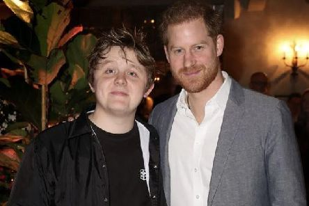Prince Harry with Lewis Capaldi at the event in London. Pic: Getty Images