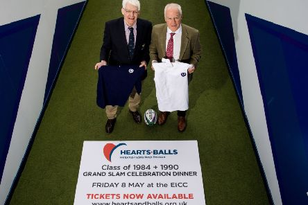 Finlay, left, and Jim Calder at BT Murrayfield  to promote a dinner that will  re-unite the Grand Slam sides of 1984 and 1990 in aid of  the charity, Hearts  and Balls.