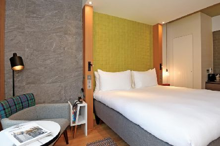 Clever use of space in one of the bedrooms at Market Street Hotel, Edinburgh