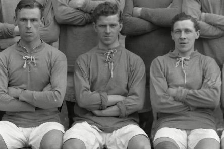 Bobby Parker, centre, scored 36 goals in 35 games in Everton's title-winning season in 1914-15. Picture: Colorsport/Shutterstock