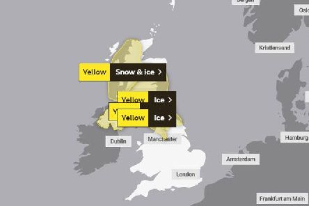 There is a yellow weather warning in place for snow and ice for Monday 27 January.