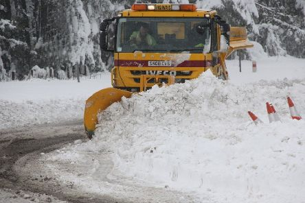 A snowplough in action in the Borders.
