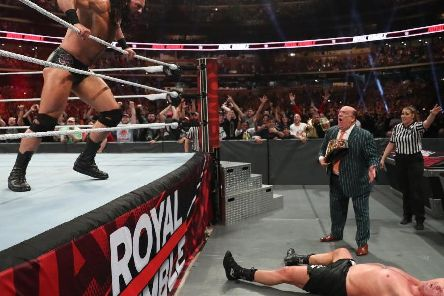 Scotland's Drew McIntyre gloats after eliminating Brock Lesnar from the Royal Rumble match (Photo: WWE.com)