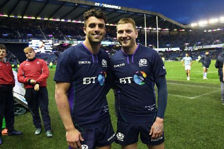 Adam Hastings, left, is set to step into the boots of Scotland playmaker Finn Russell against Ireland on Saturday. Picture: SRU/SNS