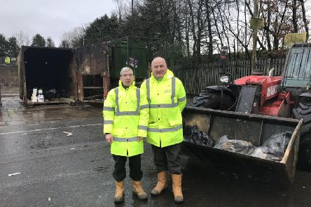 Kenny McAdam and Tony Scanlon were on shift at the Dalmoak Recycling Centre in Renton when they were asked to look for the Bisto tins   picture: PA Scotland