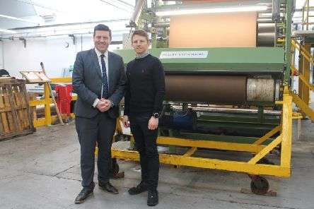Business minister Jamie Hepburn pictured with Halley Stevensons general manager Billy Tosh. Picture: Contributed