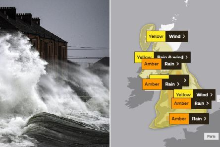 The Met Office has issued an amber warning for parts of Scotland where severe flooding is likely causing 'danger to life'   PICTURE: JPI Media and Met Office