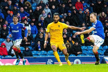 Scott Arfield scores the only goal to give Rangers victory over Livingston. Picture: SNS.