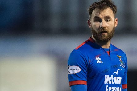 James Keatings scored the opener but was later sent off as Inverness CT set up a Challenge Cup final with Raith