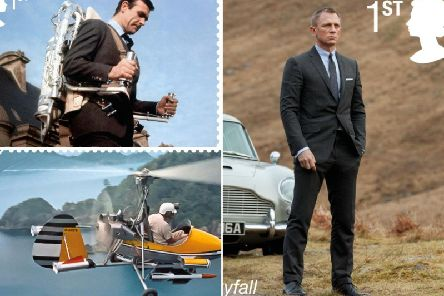 The 10 stamps feature the six actors who have played 007, as well as some of Q Branch's most well-known vehicles    picture: RoyalMail/PA