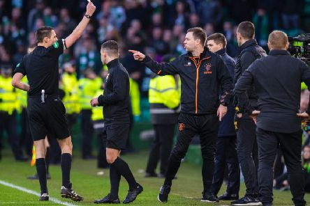 Michael Beale is red-carded during the Old Firm clash