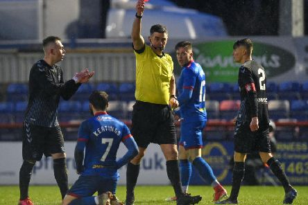 James Keatings is shown the yellow card in the Challenge Cup semi-final. Picture: SNS