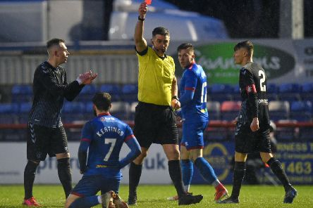 James Keatings is shown a red card after a challenge by Rangers' Ciaran Dickson which the SFA's disciplinary panel refused to rescind. Picture: SNS.