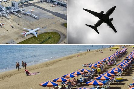 The plane travelled from Lanzarote (bottom, credit Otto Stadler) to Gatwick (left, credit PA).