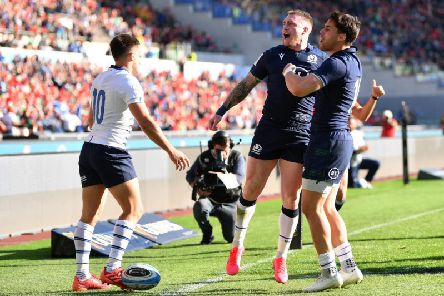 Stuart Hogg celebrates his brilliant try in Rome. Picture: Getty Images
