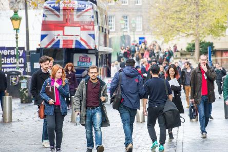 Students in Edinburgh's 'Bristo Square. Fewer EU applicants could mean more Scots getting free places. Picture: Ian Georgeson