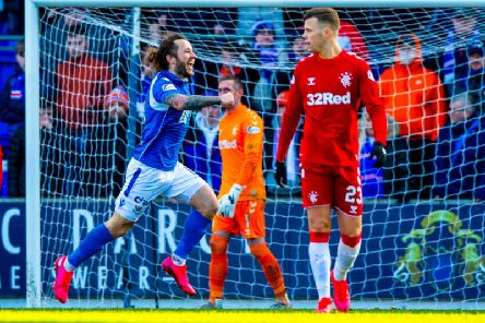 Stevie May celebrates his equaliser for St Johnstone against Rangers. Picture: Alan Harvey / SNS
