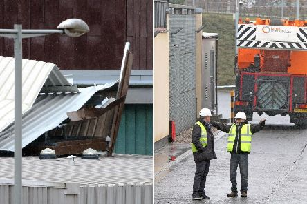 Gale force gusts tore a sheet of metal weighing more than 50 tonnes off the top of the Livingston Sheriff Court complex at the weekend  picture: supplied