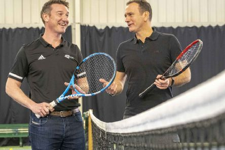 LTA chief executive Scott Lloyd, left, and his tennis Scotland equivalent Blane Dodds at the National Tennis Academy in Stirling. Picture: Peter Devlin