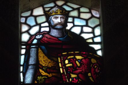 A stained glass window showing King Robert the Bruce inside the Wallace Monument (Picture: Neil Hanna)
