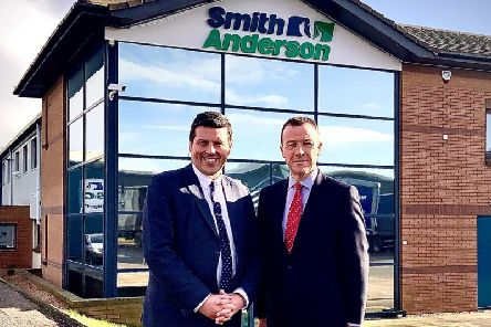 Scottish Government Minister for Business, Fair Work & Skills, Jamie Hepburn, with Michael Longstaffe, chief executive of Fife-based Smith Anderson. Picture: Contributed