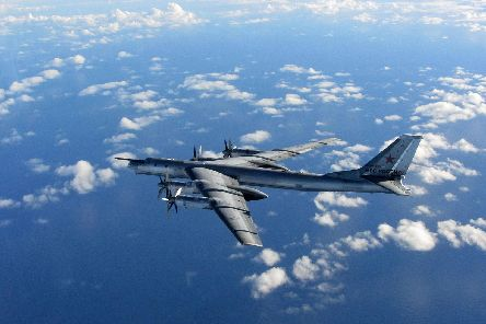 Pictured: A Russian Bear 'H' aircraft photographed in 2014. 'A spokesman for the RAF base said the unidentified aircraft seen today, suspected to be Russian, did not require to be intercepted and have since departed picture: RAF