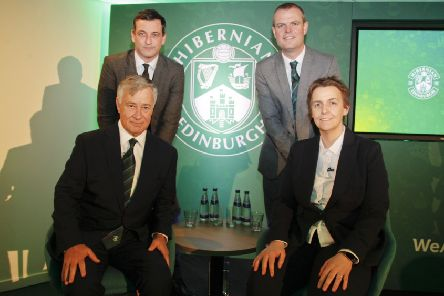 Clockwise from bottom left, Hibs owner Ron Gordon, manager Jack Ross, sporting director Graeme Mathie and Leeann Dempster.