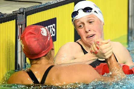 Hannah Miley, right, congratulates Aimee Willmott after the 400m IM final  PICTURE: Getty Images