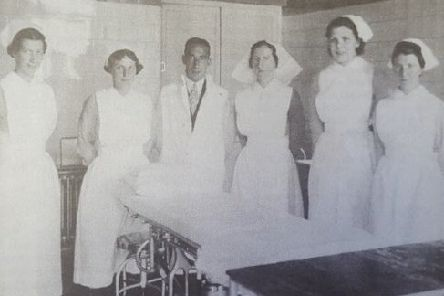 Jean spent some time as a theatre nurse in Glasgow. In this image she is pictured second from the left with her team.