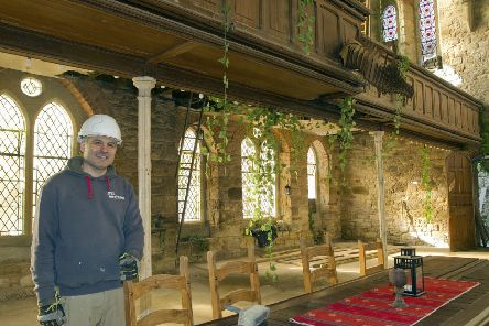 Kirk Kirchev continues the rolling renovation at North Trinity Church in Kelso.