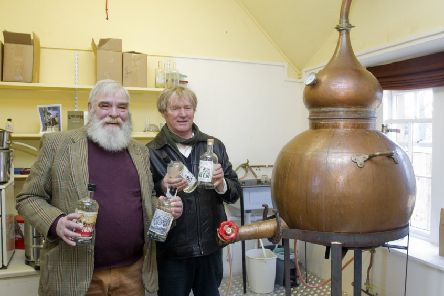 Oliver Drake and Andrew Crow at Kelso Gin Company's distillery at Harestanes.