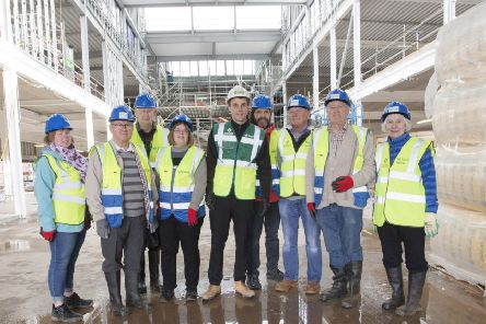 Site manager David Brodie with a group of Jedburgh residents.