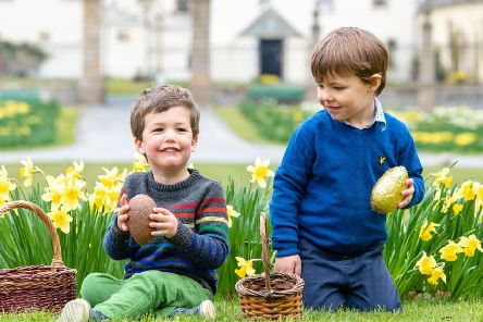 Young egg hunters get started early'Angus McMillan, Angus Panton (Stripy Jumper) both 3'.