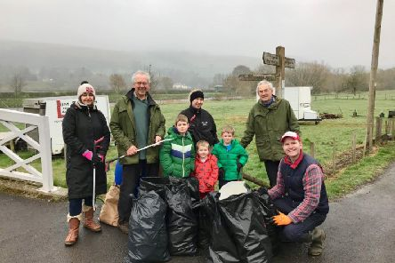 A team of volunteers in Melrose taking part in the 'seven towns one river' Tweed Clean.